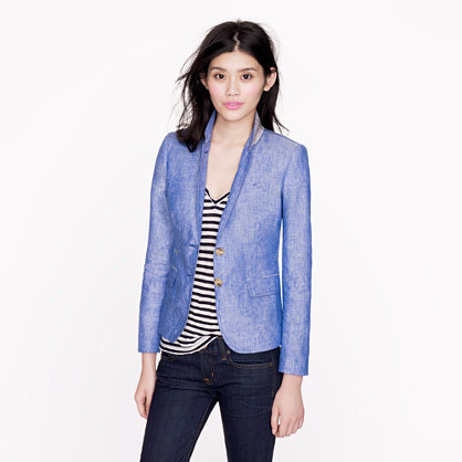 Tall classic schoolboy blazer in crosshatch linen