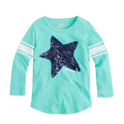 Girls' three-quarter starshine baseball tee