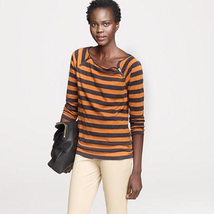 Vintage cotton stripe shoulder-zip tee