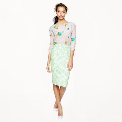 Petite No. 2 pencil skirt in clover tweed