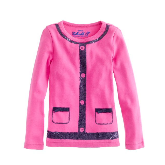 Girls' long-sleeve trompe l'oeil tee
