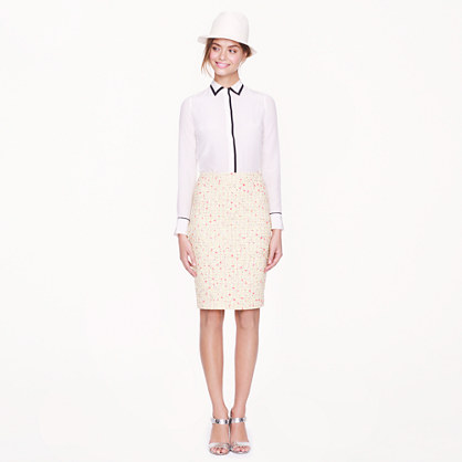 Petite No. 2 pencil skirt in neon tweed