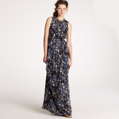 Winter garden long dress in silk chiffon