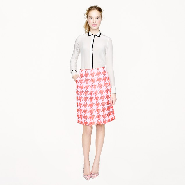 Petite pixelated houndstooth skirt