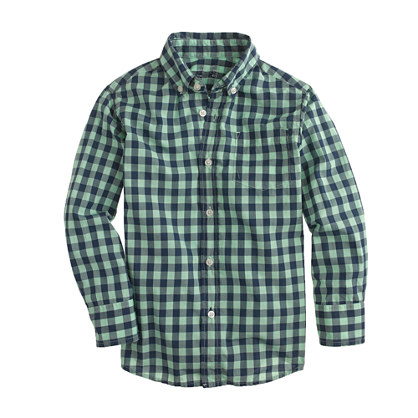Boys' Secret Wash shirt in neon medium gingham