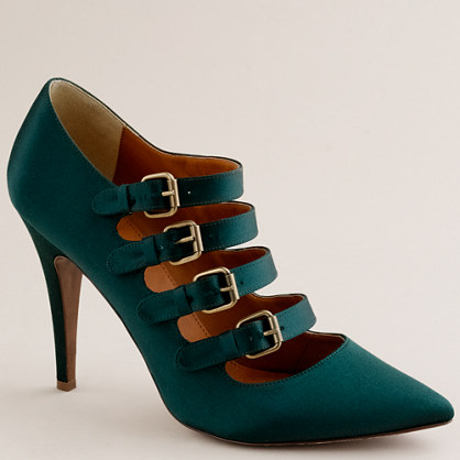 Adrianna satin buckle pumps
