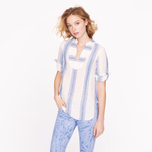 Stripe linen tunic