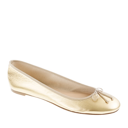 Classic metallic leather ballet flats