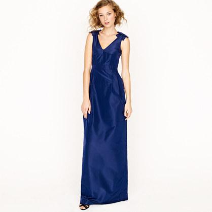 Adelle long dress in silk taffeta