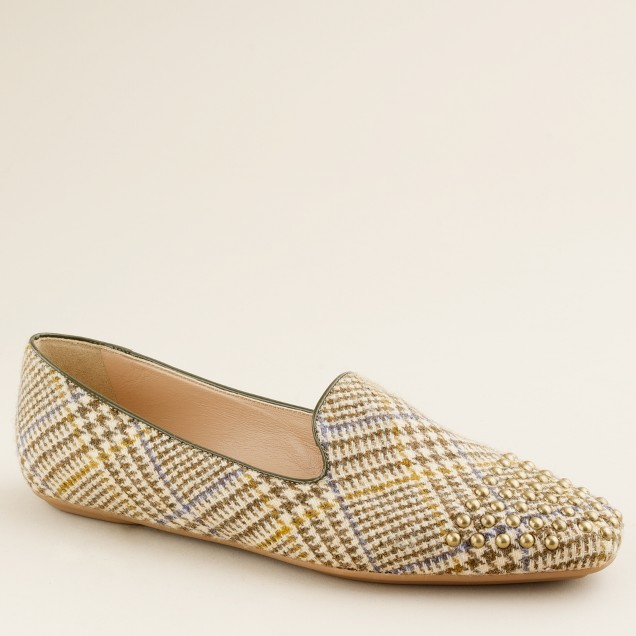 Darby studded tweed loafers