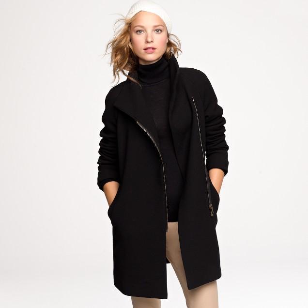 Petite double-cloth envelope coat