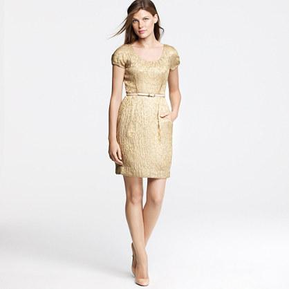 Metallic foil jacquard dress