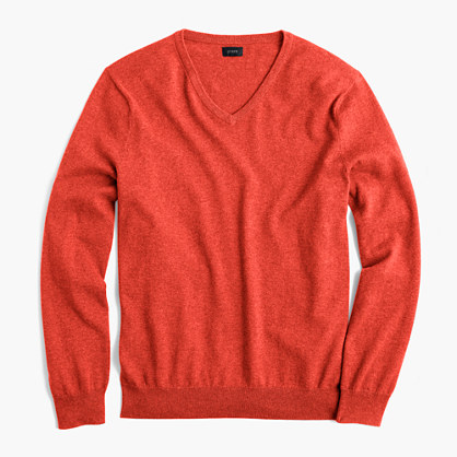 Slim cotton-cashmere V-neck sweater