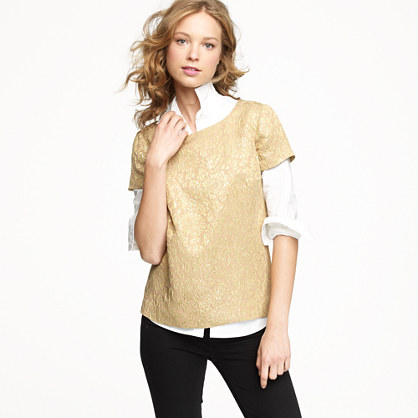 Metallic foil jacquard top