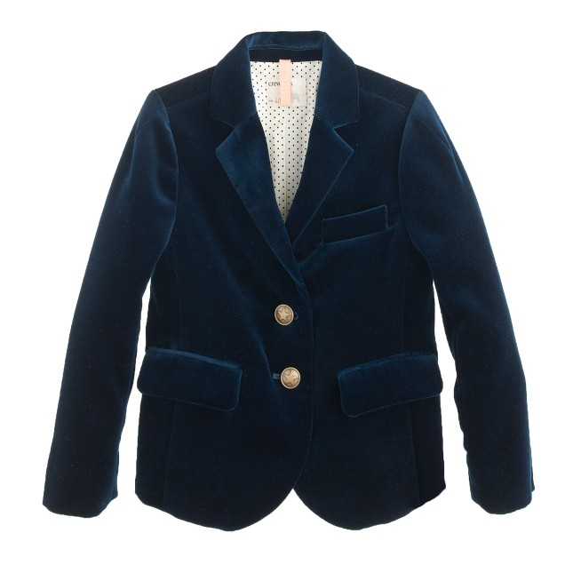 Girls' schoolboy blazer in velvet