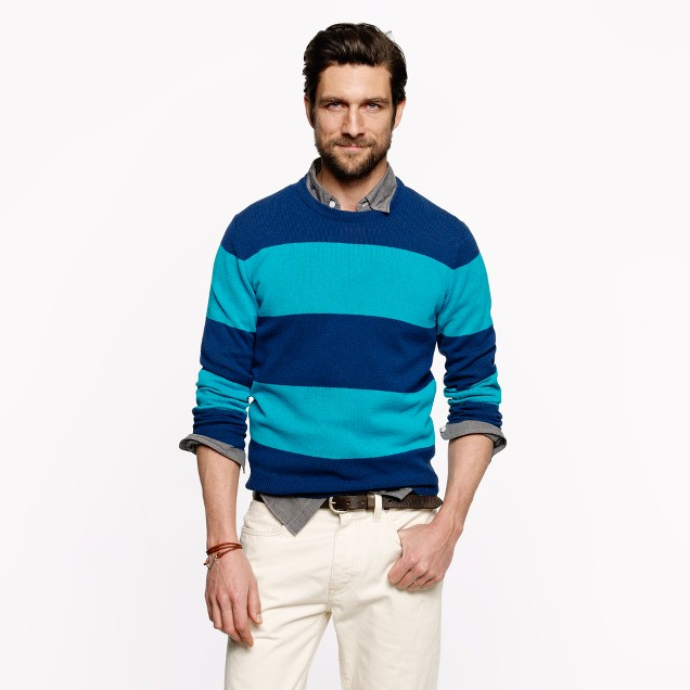 Cotton crewneck sweater in veranda blue stripe