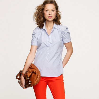 Puff-sleeve popover in stripe