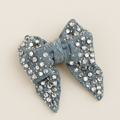 Girls' crystal chambray bow
