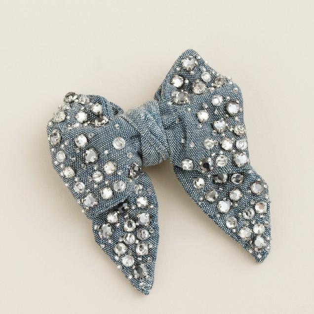 Girls' crystal chambray bow