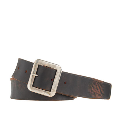 Leather square-buckle belt