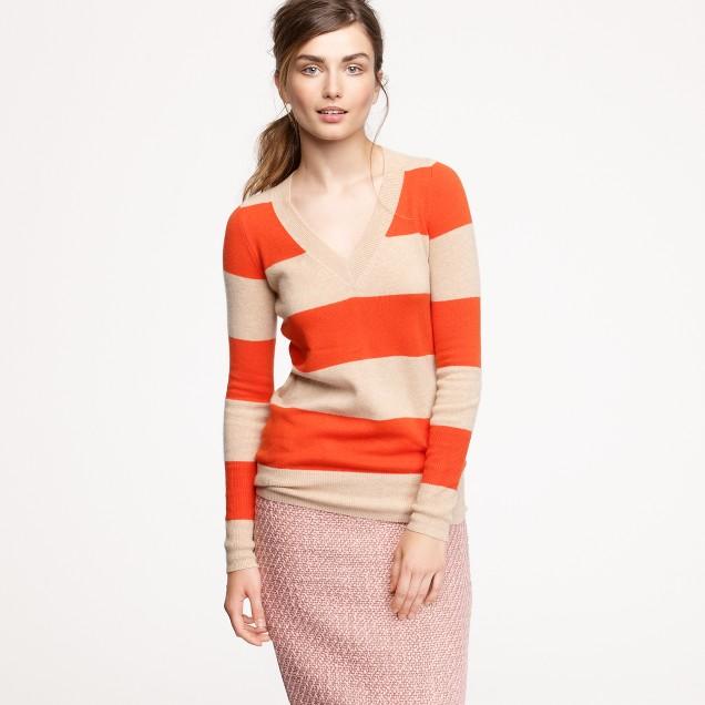 Cashmere rugby-stripe V-neck sweater