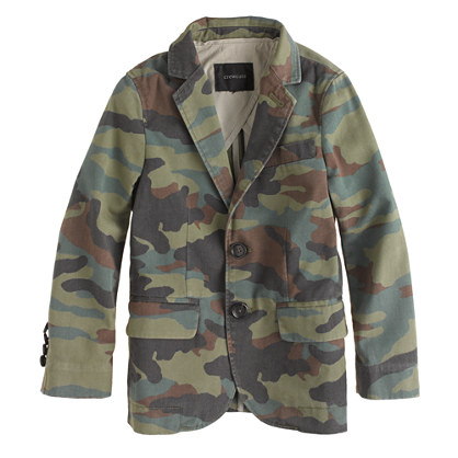 Boys' unconstructed Ludlow suit jacket in camo-print chino
