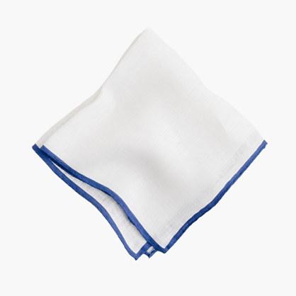 Tipped Italian linen pocket square