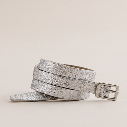 Available In Silver Glitter Detail Waist Belt Adjustable Waist.