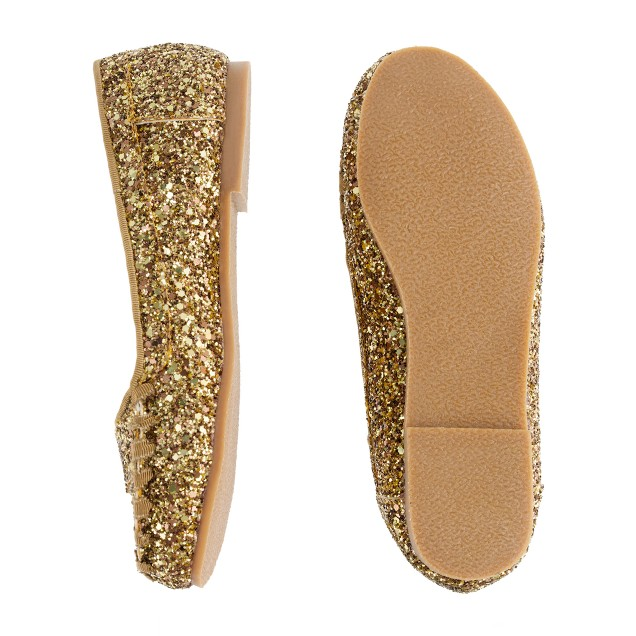 Girls' glitter penny loafers