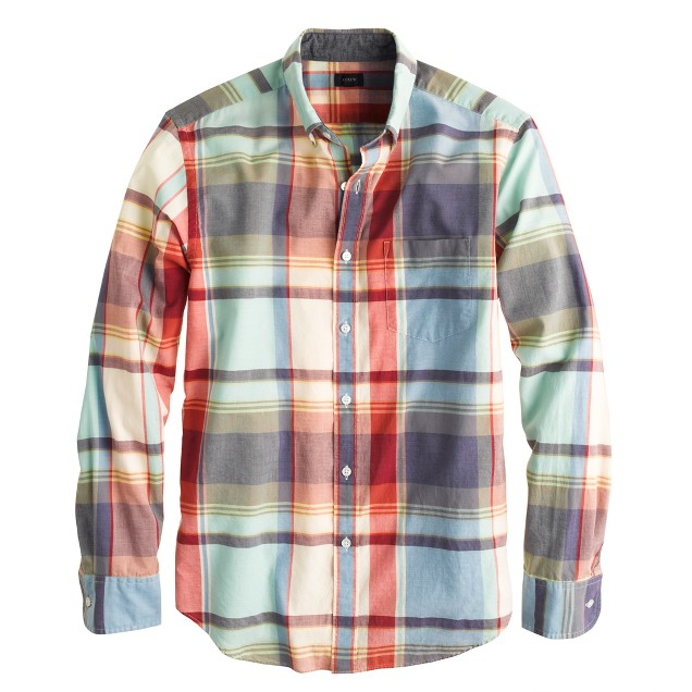 Indian cotton shirt in poppy plaid