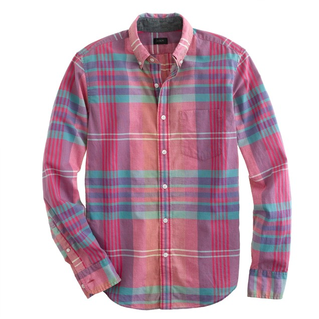 Indian cotton shirt in flash pink plaid j crew for Red and white plaid shirt mens
