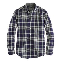 Tall Indian cotton shirt in deep pacific plaid