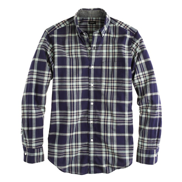 Indian cotton shirt in deep pacific plaid