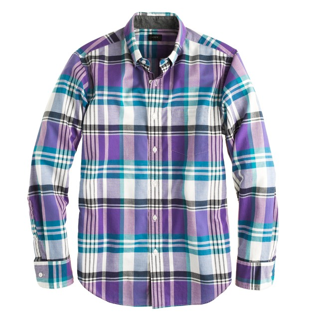 Indian cotton shirt in Havana blue plaid