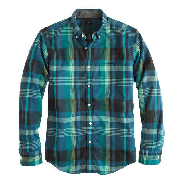 Indian cotton shirt in Atlantic ocean plaid