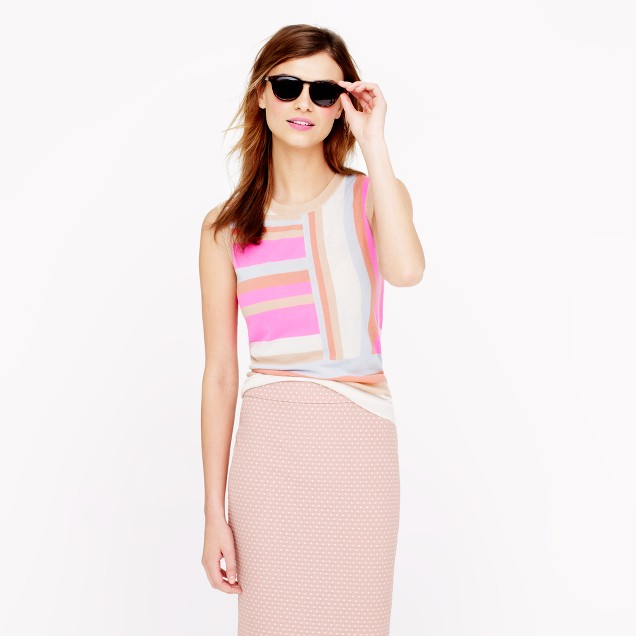 Collection featherweight cashmere shell in two-way stripe