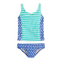 Girls' tankini set in spots and stripes