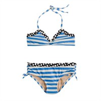 Girls' ruffle bikini set in spots and stripes