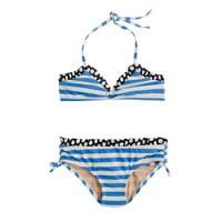 Girls' ruffle bikini set in spots and stripes