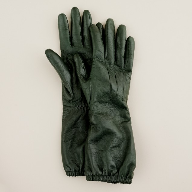Leather long scrunch gloves