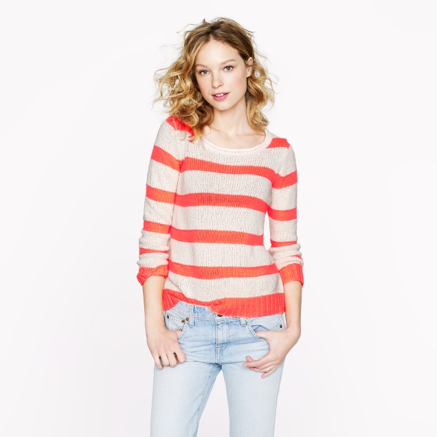 Twisted stitch open-neck sweater in neon stripe