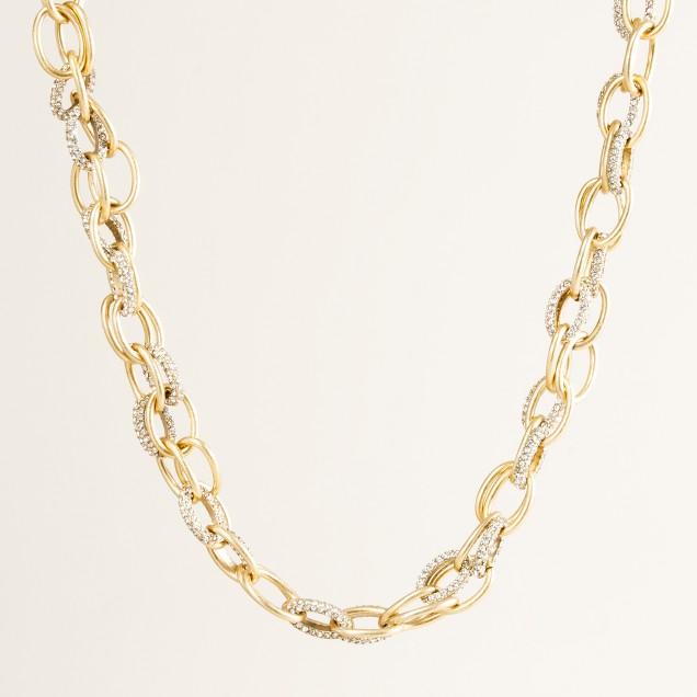 Slim pavé cable-link necklace