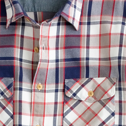 Wallace & Barnes heavyweight flannel shirt in Hut Point plaid