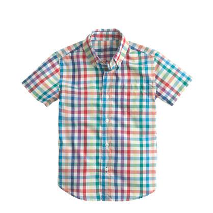 Boys' Secret Wash short-sleeve shirt in rainbow tattersall