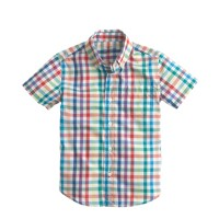 Boys' Secret Wash short-sleeve shirt in rainbow tattersall