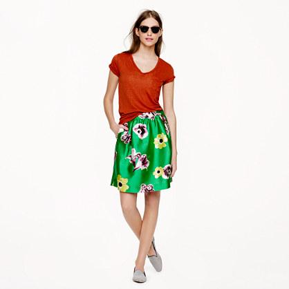 Silk-wool punk floral skirt