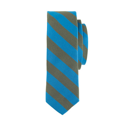 Boys' silk tie in olive stripe