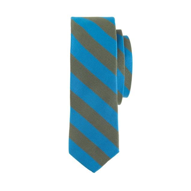Boys' silk tie in olive stripe