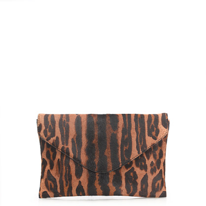invitation clutch in printed calf hair