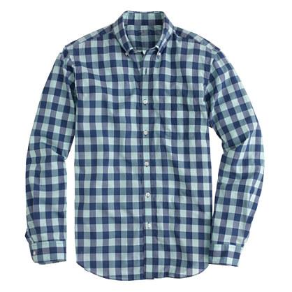 Lightweight shirt in aqua gingham